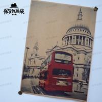 Fashion red car nostalgic vintage poster cowhide paper decorative painting core