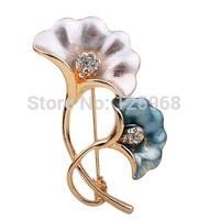 Free Shipping!2015 New 3pcs/lot Fashion Elegant ginkgo leaf Rhinestone Brooches Women Accessories Crystal Brooches Pins