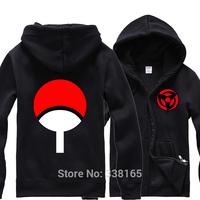 Anime Naruto Uchiha Sasuke The Sharingan Cosplay Hoodie Zipper-up Coat Jacket Thick Warm Hooded Tops Costume Size M L XL XXL
