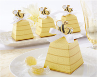 "500pcs/lot Cute Type ""Sweet as Can Bee!"" Mom and Baby Beehive Baby Shower Favor Box Wedding Gifts Free Shipping"