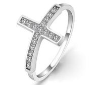 Sz6,7,8,9 New Women Men 925 Sterling Silver fine jewelry Zircon Jesus cross Ring ,Fashion Style Rings, Free shipping