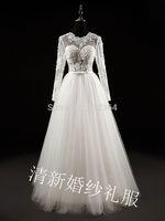 long sleeve lace embroidery rhinestone beading veil wedding dress