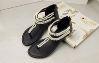 2015 spring summer new double pearl flip flat sandals women casual fashion back zipper summer shoes