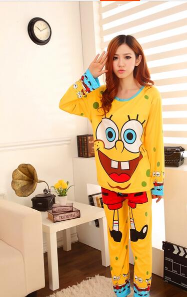 Весна и лето милый комикс губка боб пижамы костюм женское домашняя одежда(China (Mainland))