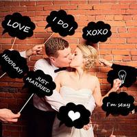 DIY Photo Booth Prop Wedding Party Black Card Board Chalkboard Stick   K5BO