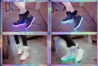 2014 faux led luminous snow boots colorful lacing knee-high luminous lamp shoes