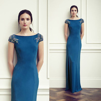 Elegant Short Sleeve Blue Slit  Long Evening Dresses Slim Beaded Formal Military Ball Dress Vestido Longo De Renda ED064