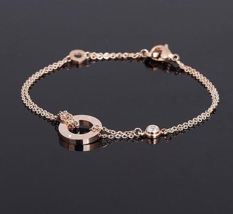 European And American 14k Rose Gold Bracelets&Bangles /Bracelets For Women Double Titanium Steel Korean Wholesale(China (Mainland))