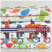 50x50cm 7pcs/lot New Cartoon Owl Bird Car Cotton Fabric Fat Quarter Bundle For Patchwork  child Baby Bedding Textile For Sewing