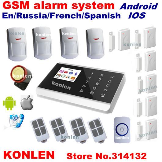 Датчики, Сигнализации Konlen lcd gsm alarma android KL-H31 датчики сигнализации konlen battey