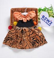 Retail New Princess Children dress girls lady dress ,beautiful rose flower pattern girls' dress,Children's Lovely Dress H-Dec15