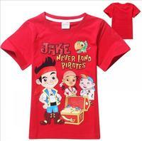 2015 New summer pirates Tee T-shirt boys short sleeve cartoon jack shirts baby boy shirt cotton tops kids clothes WD2110