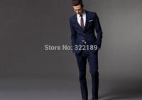 Latest Design Two Buttons Navy Blue Groom Tuxedos Notch Lapel mens wedding tuxedo Men Wedding Suits (Jacket+Pants+Tie)