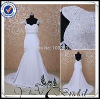 RSW436 Cap Sleeve Beading Low Back Sweethearted Trumpet Wedding Dress