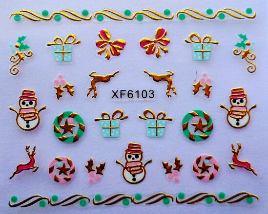 8PCS/LOT 3D Christmas Nail Art Stickers Gold Metal Stickers 3D gold Decal Stickers Nail Art Tip DIY Decoration stamping Manicure(China (Mainland))
