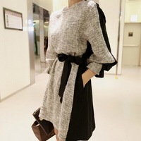 Autumn 2014 New Fashion Large Size Long Sleeve Dresses Was Thin Knitted Women Casual vintage winter fashion brand party Dress