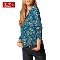 ECW NEW 2015 Fashion Flower Print Shirts For Women Blusas Femininas Chiffon Slim V-Neck Women Shirst Sexy Low-Cut Shirts