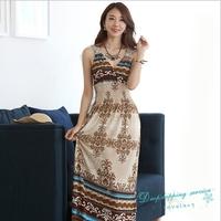 New Bohemia Dress Hollow Slim V-neck Summer Temperament Beach Dress Ice Silk Holiday Dress Free Shipping