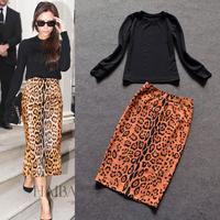 Celebrity Red Carpet High Street Fashion Clothing Set Women's Black Long Sleeves Sweatshirts + Leopard Printed Pencil Skirt