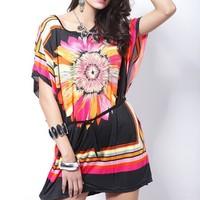 2014 Fashion Europe Vintage chrysanthemum summer dress O-Neck Hippie Bohemian women dress batwing Slim sexy Beach casual dress