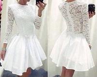 Women Ladies Vintage Lace Long Sleeve Formal Cocktail Vestidos Casual White Party Mini Dress Plus Size Women Dresses