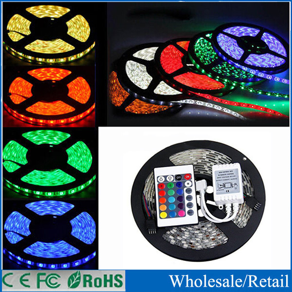 Free Shipping led wholesaler 3528 RGB led strip light 5M 300SMD led stripe 24keys SMD IR Remote Controller, Or White Blue Red(China (Mainland))