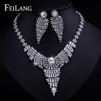 FEILANG 2014 New Arrival Luxury Pure AAA Swiss Cubic Zirconia Diamond Long Pendant Necklace Earring Jewelry Set (FSSP094)