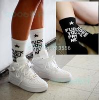 USA Fashion 2014 new fuck you pay me socks for men and women long cotton socks Tide brand socks stocks brand basketball socks