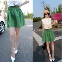 030#2014 Korean female skirt brim summer new green all-match paragraph waisted fluffy skirt