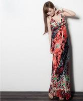Free shipping 2015 new  Big range of high-end women's fashion temperament mopping goddess dress bohemian dress  QZ1235