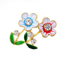 Min. order 9usd (can mix) Fashion 18K Gold Plated Sky Blue and Red Flower Brooches for wedding Girl Free Shipping