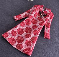 Women Spring Summer Dress 2015 Fashion Vintage Elegant Office Red Floral Lace Dresses Pencil Skinny Plus Size Dress
