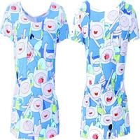 EAST KNITTING Fashion New 2015 Women Spring Summer Tee Adventure Time Print Spandex Women Clothing Big Size Free Shipping