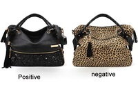 High quality  Casual All-match zipper Leopard Print Paillette Handbag tote Shoulder Bags For 2015 top