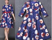 2015 Newest Eueope Style O-neck Floral Print  Dress Women Summer/Spring Belt Half Sleeve Dress Slim Dress S-L Free Shipping