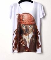Promotion! womens tops fashion 2014 new casual rock short t-shirt feminina 3d print women camiseta feminina