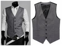 New 2014 Spring Autumn Mens Stylish Design Vest Slim Skinny Casual Waistcoat Sleeveless Business Jacket Gray Color Hot Sale