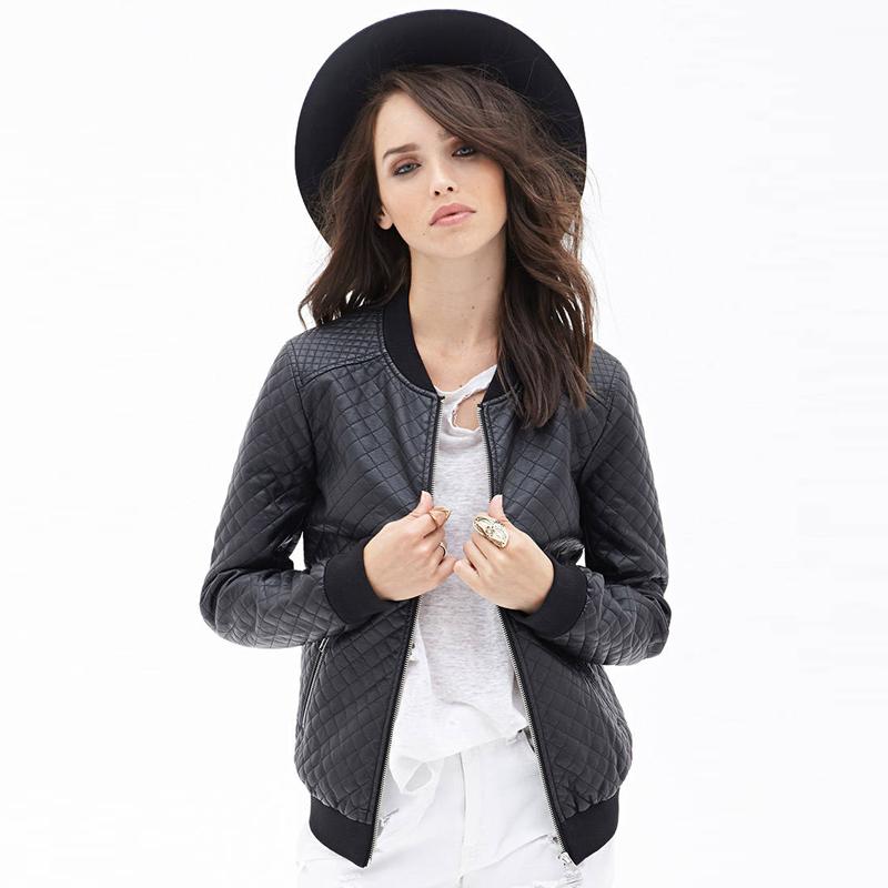 2015 весна новый черный PU кожа женщин куртки пальто марка мода бомбардиров