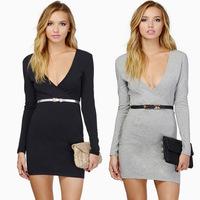 2015 women dress fashion style sexy deep V-neck long-sleeved dress Slim package hip casual dress