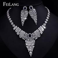 FEILANG White Gold Plated Luxury Dark Blue Sapphire AAA Zircon Long Pendant Necklace Earring Jewelry Set for Wedding (FSSP094)