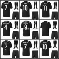 Top quality 2015 Real Madrid 3rd black dragon Soccer Jersey set with match sock ,JAMES cristiano ronaldo Bale RAMOS football Kit