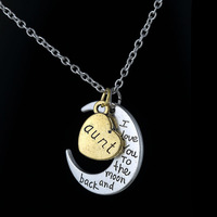 """2015 New Arrival Fashion Antique """"I Love You To The Moon and Back"""" Pendant Necklace Love Forever For Aunt Best Gift"""