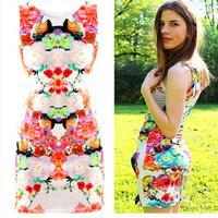 2015 casual dress fashion women dress waist was thin sleeveless flower dress