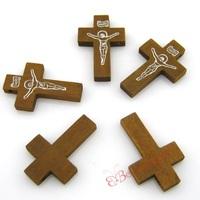 200pcs/lot D40 Antique Light Brown 33mm INRI Jesus Crucifix Wooden Cross Charms Christian Pendants Jewelry Making Findings