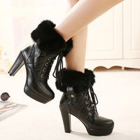 HOT Sales Free shipping  2014 winter high boots  thick female  lace women boots   comfortable casual boots