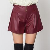 New 2014 autumn winter fashion women sexy PU leather shorts black red