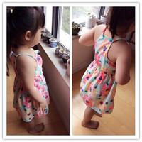 Girls Fresh floral summer dress sling Silk chiffon dress