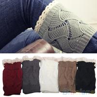 Women's Hollow Crochet Knitted Lace Trim Boot Toppers Cuffs Leg Warmers Socks