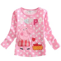2015 Spring and Autumn New European and American style children's clothing girls' long-sleeved T-shirt cute Pig bottoming shirt
