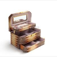 Wholesale!Crocodile pu leather jewelry organizer box,girl gift box for christmas,cosmetic organizer case,female lovely box